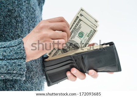 money in the wallet - stock photo
