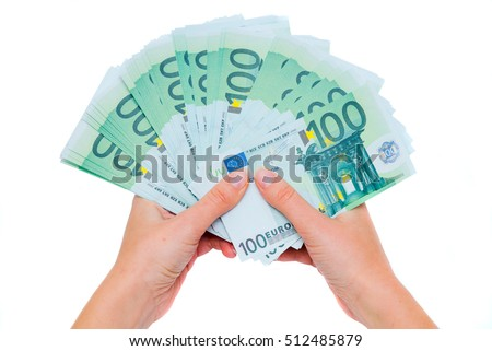 Money in the woman's hands. Earnings of a large sum of money. Isolated on white background. 100 euro in woman hand.