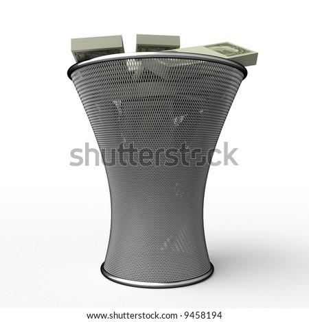 Money in waste basket. Isolated. - stock photo