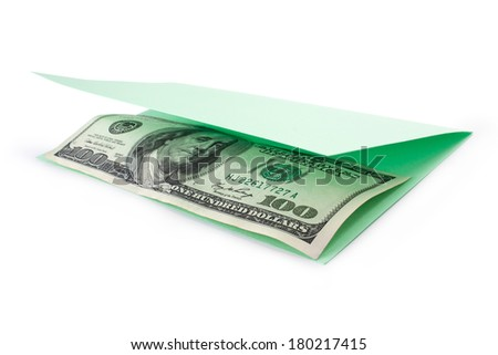 money inside opening postcard on a white background isolated