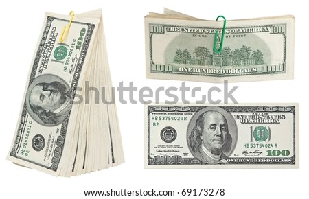 Money isolated on white background . - stock photo
