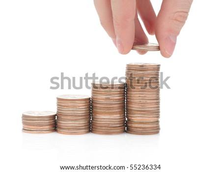 Money isolated over white - stock photo