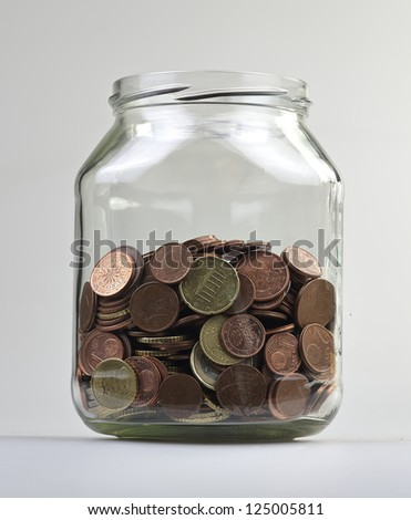 Money jar with european money - stock photo