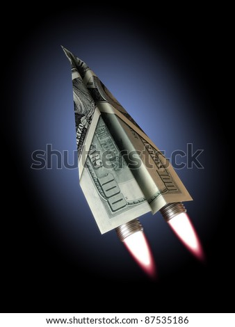Money jet,100 dollar bill concept for rising financial costs, flying commercial, soaring wealth ,dreams, investments ,rising dept ,technology ,economic depression ect. - stock photo