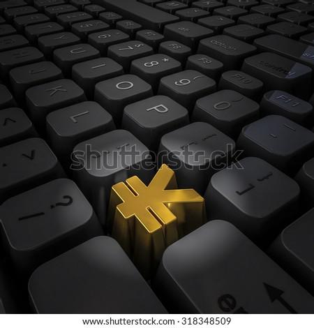 Money key yen / 3D render of computer keyboard with gold yen key - stock photo