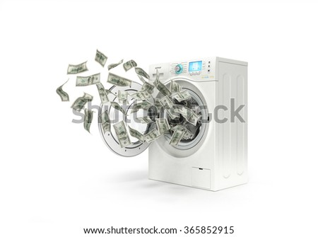 money laundering concept, dollar bills fly in the washing machine - stock photo