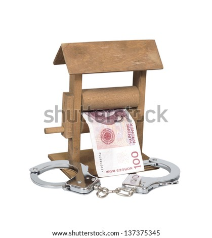 Money laundering. Norwegian Krone bill in the wringer with handcuffs isolated over white, clipping path included. - stock photo