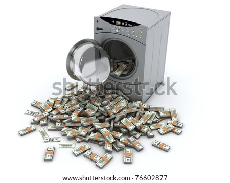 Money laundry and washing machine isolated on white background