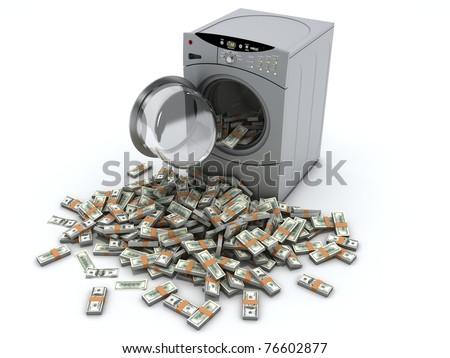 Money laundry and washing machine isolated on white background - stock photo