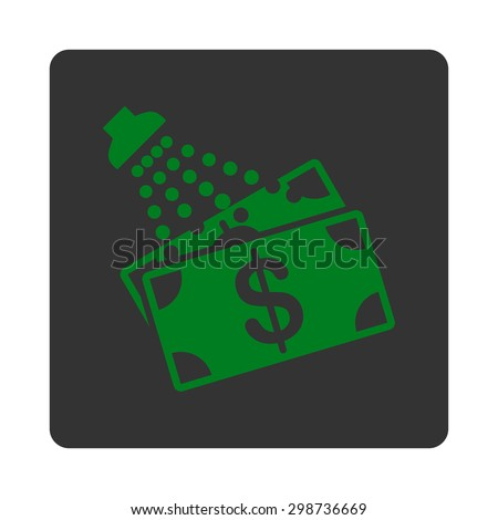 Money Laundry icon from Commerce Buttons OverColor Set. Glyph style is green and gray colors, flat square rounded button, white background.