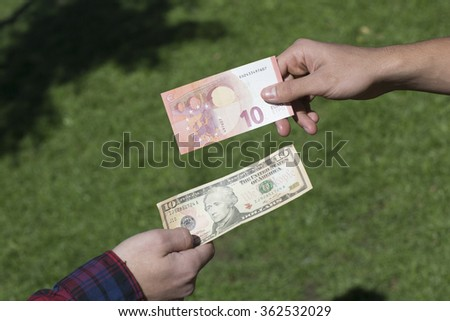 Money Loan/Photo of the American and euro banknotes exchange