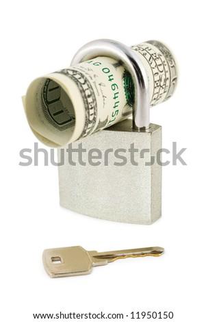 Money, lock and key, isolated on white background - stock photo