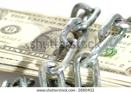 money lock with an old chain