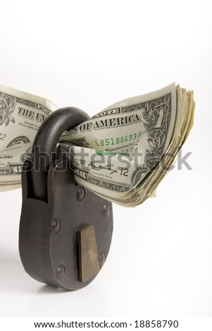 money locked up in a padlock - stock photo