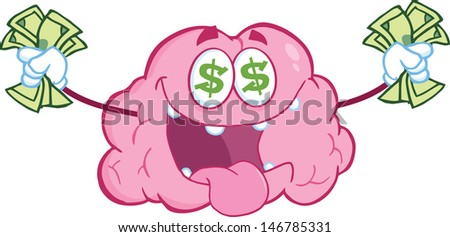 Money Loving Brain Cartoon Mascot Character. Vector version also available in gallery - stock photo