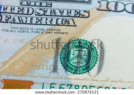 money - macro shot of  american new 100 bill dollar banknote - stock photo