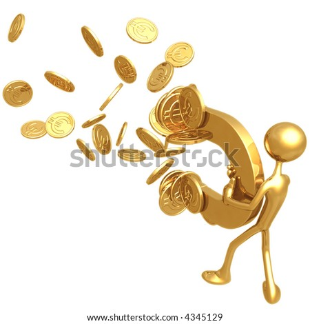 Money Magnet Attracting Gold Euro Coins