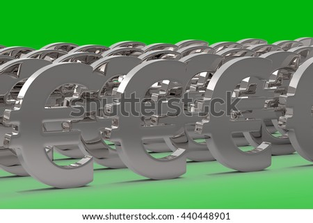 Money Making / Euro Currency in Silver / 3D Rendering