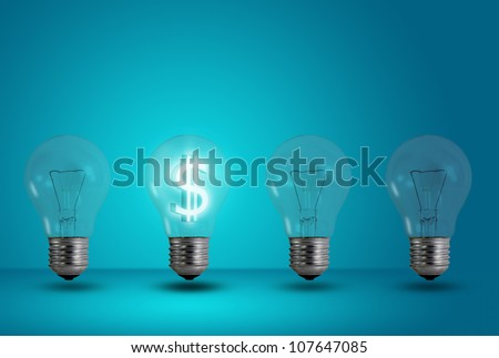 Money making idea. Dollar symbol glow among other light bulb on a blue background - stock photo