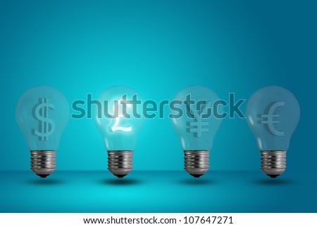 Money making idea. Pound symbol glow among other light bulb on a blue background - stock photo