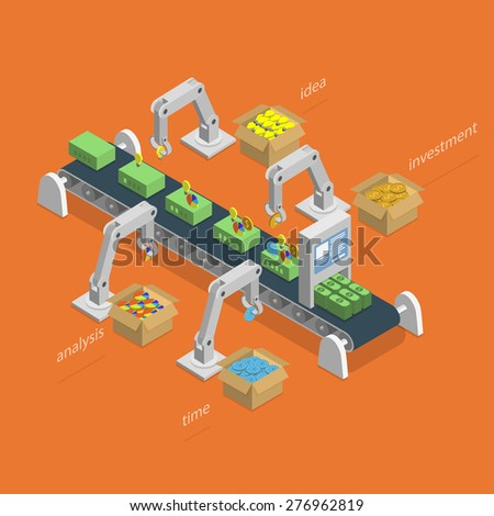 Money Making Process Concept. Robotized Conveyer For Making Money.  Robots Assemble Money Using Idea, Analysis, Investment And Time Items. Isometric Illustration. - stock photo
