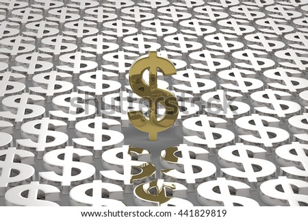 Money Making / US Dollar Currency in Gold and Silver / 3D Rendering