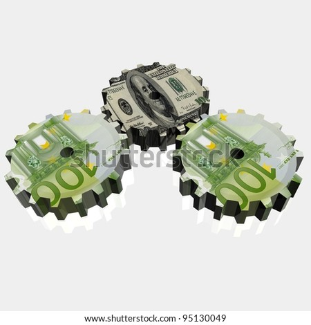 Money mechanism with euro and dollar currency signs - stock photo