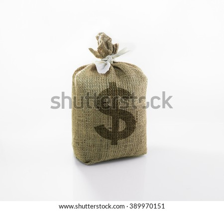 money ( Money icon) in the sack  bag on white background.For financial or saving concept - stock photo
