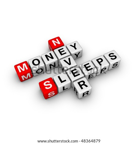 money never sleep (from crossword series) - stock photo