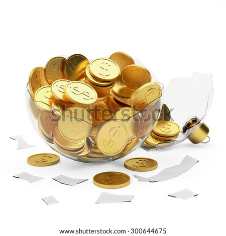 Money New Year surprise. Broken glass Christmas ball full golden coins isolated on white background