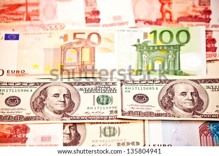 Money of different countries: US Dollar, Euro, Ruble - stock photo