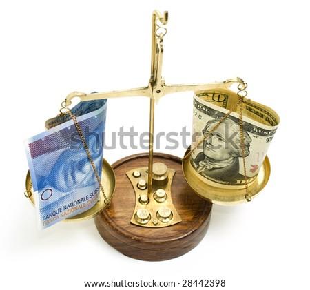 money on a balance scale - stock photo