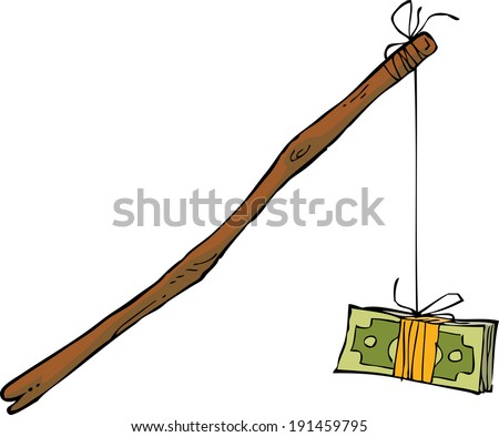 Money on a rope on a white background raster version