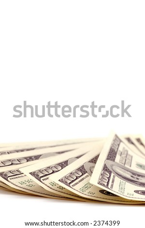 money on a white background