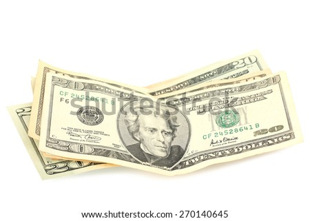 money on an isolated white background
