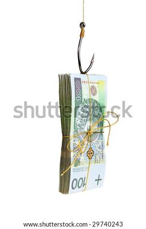 Money on fishing hook isolated on white background - stock photo