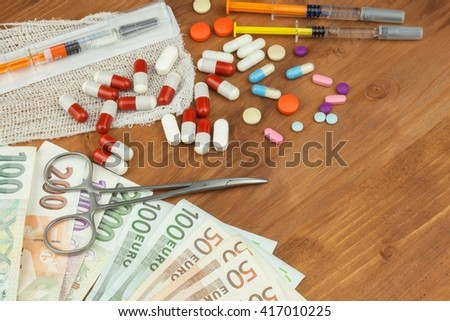 Money on health care. Paid health care. Money for the treatment of diseases and injuries. Domestic savings on doctors.  - stock photo