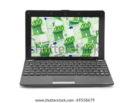 Money on notebook screen isolated on white background - stock photo