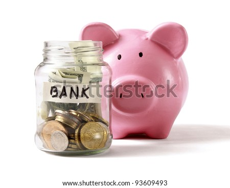 Money on the bottle,coin box ,isolated on white background - stock photo