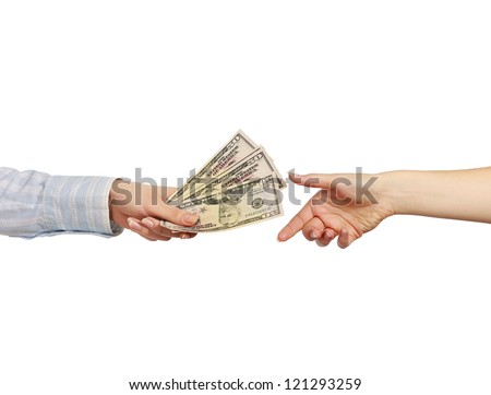 Money on the hands, isolated on white background - stock photo