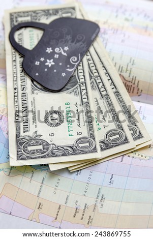 money on the map of america, close up - stock photo