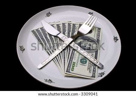 Money on the plate. Business dinner.