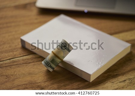 Money on top laptop and book - stock photo