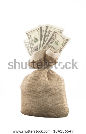 Money one hundred dollar bill in the burlap sack bag  isolated on a white background