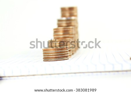 money or coin graph or money growing or saving concept on white background