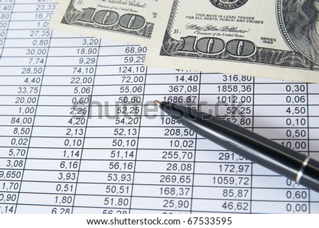 Money, pen can be used for financial background