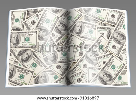 Money Pile $100 dollar bills, book