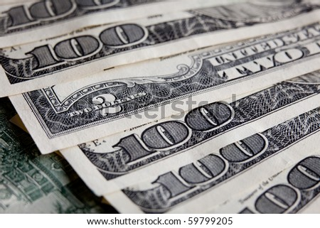 Money Pile of  US $100 paper dollar banknotes - stock photo