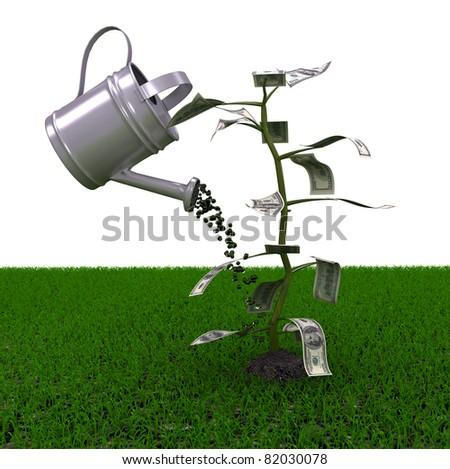Money plant over white background. computer generated image - stock photo