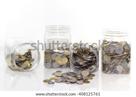 Money plant step with deposit coin in bank concept